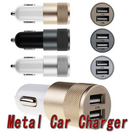 Wholesale Hot selling Metal Dual USB Port Car Charger Universal Ports Sync Charging Adapter Bullet for iPhone iPad iPod Samsung Galaxy Android sma
