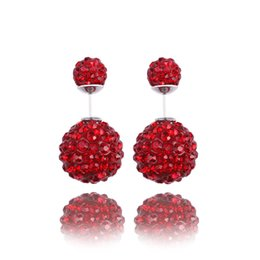 2015 New Shamballa Double Earring 16mm 8mm CZ Crystal Beads Ball Stud Earrings fashion Jewelry For Women Girls