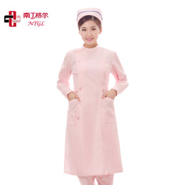 Wholesale Partial lapel stand collar nurse clothing pink blue nurse skirt summer winter white coat nurse suit nurse working uniforms buy one get a cap