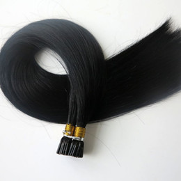 Pre bonded Stick I Tip Human Hair extensions 100g 100Strands 18 20 22 24inch #1 Jet Black Straight Brazilian Indian hair