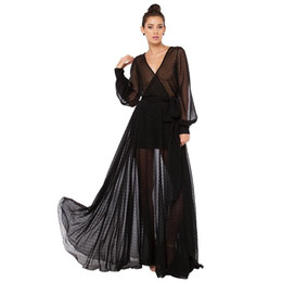 Women's Black Sexy see through Lace Dresses Fashion Spring Summer Long Sleeve Maxi Deep V neck runway party dress