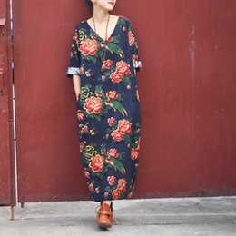 Wholesale Women dress summer casual dress semi Linen Vintage Print long sleeved loose long waist Hem Maxi division Antique Dress