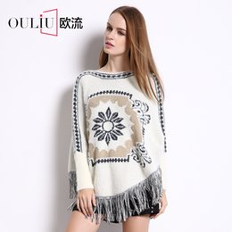 Wholesale Manufacturers women s winter new national wind loose big yards long sleeve rabbit jacquard fringed cape paragraph sweater