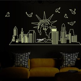 Wholesale wall stickers home decor ABQ9622 three generations of flat wall stickers European architectural style landscape luminous paste stickers Stat
