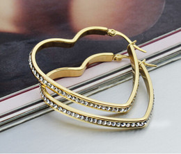 Hot style Women's Stainless Steel hoop Earring with rhinestone heart shape gold plated color size 3.5*39MM