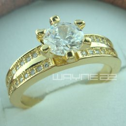 18k gold GF Engagement wedding solid ring w  simulated diamond band R154 SZ8.5-9