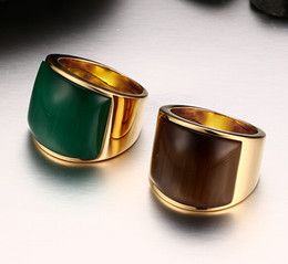 Fashion Brand New Women Men's Fine Party Gift Gold Stainless Steel Big Green & Coffee Color Stone Band Ring Jewelry Size 7-11#