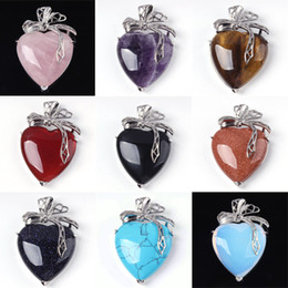 Charm Amethyst Red Agate etc Heart-shape Bead Natural Stone Pendant Accessories Silver Plated Heart Flower European Fashion Jewelry 10X Mix