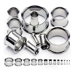 Wholesale stainless steel double flare ear tunnel plug gauges ear expander mix 10 sizes 60pcs DFT006