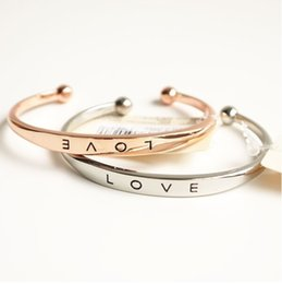 Wholesale High Quality Love letters bracelets Silver Gold Rose gold colors Open Bangle Fashion brand Environmentally friendly Jewelry for women F21