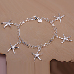 Hot sale best gift 925 silver Five starfish bracelets DFMCH193,Brand new sterling silver plated Chain link bracelets high grade