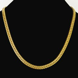 Wholesale-Heavy MENS 24K SOLID GOLD FILLED FINISH THICK MIAMI CUBAN LINK NECKLACE CHAIN