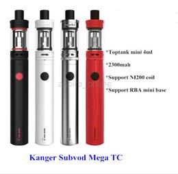 Wholesale - Genuine Kanger Subvod Mega TC Starter Kit With 4ML Toptank Mini And 2300mah Battery Cute E Cigarette Kits Kangertech Subvod Mega