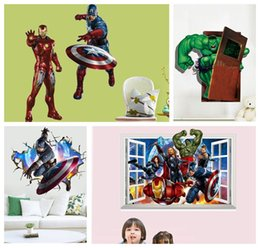 Wholesale The Avengers D Wall Stickers Posters Decals Cartoon Ironman Hulk Poster Wallpaper Home Decoration Captain America Posters