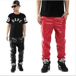 Plus Size Black Red PU Faux Leather Pants Casual Jogger Sport Hip hop Trousers Men Boys M-3XL
