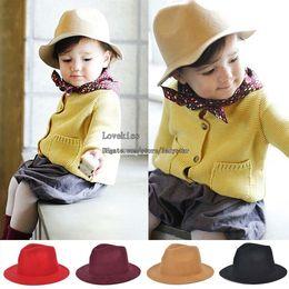 Wholesale Kids Hat Caps Hats Sun Hat Spring Autumn Wool Cap Bucket Hat Children Caps Korean Cowboy Hat Kids Cap Child Boys Girls Wide Brim Hats L43189