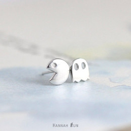 10Pairs- S013 Gold Silver Pacman or Pac man stud Earrings Cute ghosts stud earrings game fun cartoon earrings stud for girl