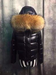 Wholesale M18 glossy parka women jackets duck down coats Female Clothes real raccoon fur collar hood short Luxury mon Brand jacket
