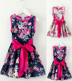 Wholesale 2015 summer Fashion girl Dress Childrens Dresses Baby Cartoon flower Clothing Kids Girls New sundress with belt Dresses