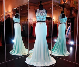 2015 New Two Piece Real Image Prom Dresses Mermaid Sheer Neckline Backless Dress Party Evening Elegant Sexy Full Length Jersey Pageant Gowns