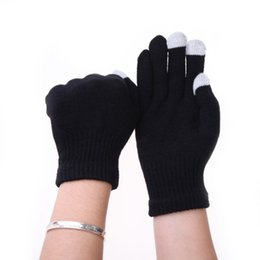 Wholesale Best Selling Women Men Gloves Touch Screen Soft Cotton Winter Gloves Warmer Smart All phone Black Eldiven