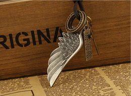 Angel wings leather necklace Sell like hot cakes leather necklace fashion necklace 3 colors wing pendant man necklace lovers necklace