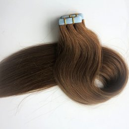 Top quality 100g 40pcs Tape in Hair Extensions Glue Skin Weft human hair 18 20 22 24inch Light Brown Brazilian Indian hair