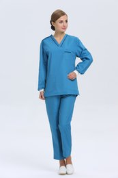 Wholesale 2015 OEM scrub sets hospital uniform workwear hospital clothes blue suit physician services hot sale for summer