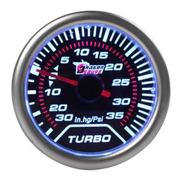 Wholesale 2pcs quot mm in Hg PSI Super White Light Led Car Universal Turbo Boost Gauge CEC_522