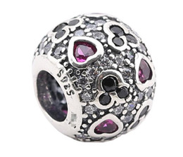 100% Sterling Silver Charms 925 Ale Love Rhinestone Charms for Pandora Bracelets DIY Beads Accessories Free Shipping