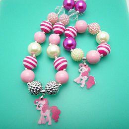 Wholesale 2015 New my little pony children jewelry sets Pendants necklaces bracelet chunky bubblegum bead child girls kid necklace pendant bracelets