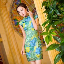Damas mini vestido vestido en venta-YD206 Vestido de la falda de la falda de la flor del bordado de Cheongsam del cordón del verde del pavo real del vestido del mandarín de la princesa de la señora MINI Qipao se viste S M L XL XXL
