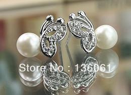 Wholesale Fashion Vintage Silver Butterfly Pearl Rhinestone Stud Earrings Girl Stud Earrings DIY Free Shipping 10Pair Z2640