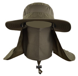 Wholesale-Outdoor Men Women Collapsible Fast Quick Drying UV Neck Protection Fishing Hat , Summer Breathable Climbing Sun Cap Freeship