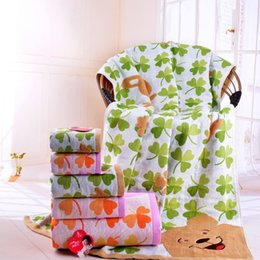 Wholesale Factory direct clover thick absorbent cotton gauze new large bath towel trade genuine labor welfare