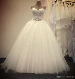 Princess Ball Gowns Wedding Dresses 2019 New Sweetheart Sleeveless Floor Length Backless Tulle Custom Made Bridal Gowns