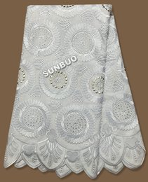 Wholesale Big Plain white lace High quality Swiss Voile Lace African Lace Fabric with of stones silver blocks for party