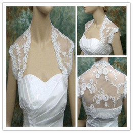 2019 New Hot Sales Free Shipping White Ivory Lace Wedding Jacket Short Sleeve High Quality