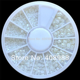 2014 Nail Art 500 White Pearl Nail Art Stone Different Size Wheel Rhinestones Beads