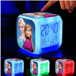 Wholesale frozen LED alarm clock fashion LED Change Digital Alarm Clock Frozen Anna and Elsa The rmometer Night Colorful Glowing Clock tyles OM XL5