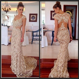 Elegant Evening Gowns Cap Sleeves V Neck Lace Prom Dresses Long Mermaid Weddings Elie Saab Dresses