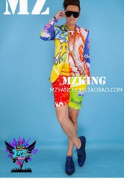 Male singer fashionable nightclub in Europe and the runway looks color coke lemon suit shorts costumes. S - 6 xl
