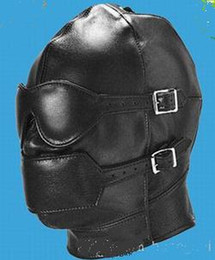 Leather Hoods PVC Mask Hood Fetish Bondage Sex Headgear