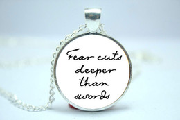 Wholesale 10pcs Game of Thrones Fear Cuts Deeper Than Swords Quote Necklace Quote Jewelry Glass Cabochon