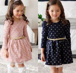 Sweet Girls Cotton Dress knee length dress pleated long sleeve girls polka dots dress autumn Princess Dress with belt free shipping