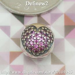 Wholesale Pink Pave Heart Clip charm Fits European pandora Bracelets Necklaces Imbue Diamond Authentic ALE Sterling Silver DIY beads clip