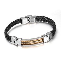 Hot Selling Style Women Men's Gift Handmade Exquisite Leather With Stainless Steel Silver And Gold Chain Bracelet Bangle Jewelry