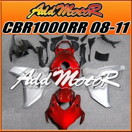 Wholesale Addmotor Injection Mold Aftermarket Fairings Fit Honda CBR1000RR CBR RR Body Kit Silver Red H1821 Five Free Gifts