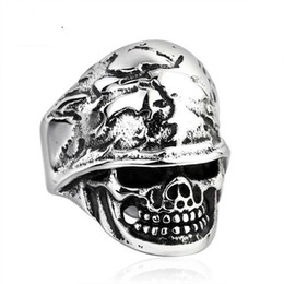 STAINLESS STEEL skull ring biker punk vintage men.s jewelry for free shipping