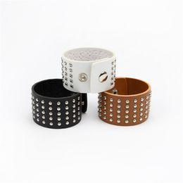 Wholesale-2016 New Fashion Leather Bracelet Punk style Rivet Bracelet Free shipping bracelet women
